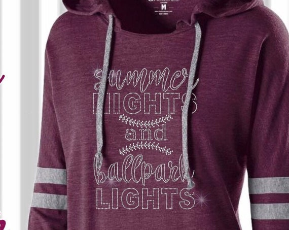 Baseball mom shirt, baseball mom hoodie, baseball mom tank top, baseball mom lace up hoodie,bling , Summer nights and ball park lights