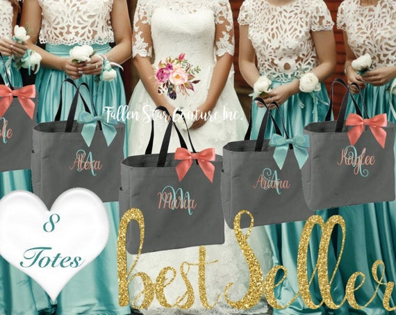 8 bridesmaid tote bags , bachelorette  party gifts , bridal party tote bags ,Bridesmaid gifts