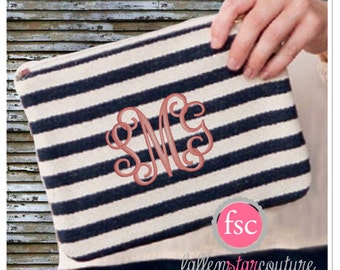 Monogrammed Zipper Pouch, personalized Accessory Pouch , Striped Zipper Bag , vacation  bag, Bridesmaid gift, Travel bag personalized
