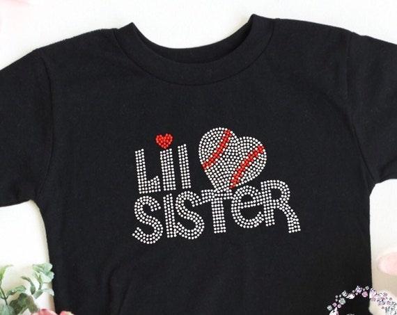 Little sister baseball shirt, Baseball Sister Shirt, baby sister baseball T-shirt, little sister bling shirt, rhinestone bling kids shirt