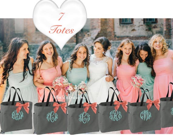 7 Bridesmaid Tote Bags , Wedding Tote Bag, Bridesmaid Proposal ,Personalized Bridesmaid Gifts, Maid of Honor Tote, Bachelorette Party
