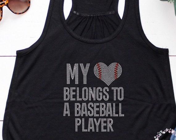 Baseball mom , baseball mom shirt , baseball tank top, baseball mom sweatshirt, sports mom hoodie , My heart belongs to a baseball player