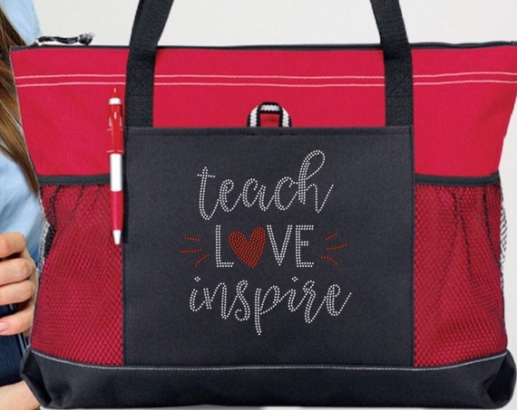 teacher gifts, gifts for teacher, end-of-the-year gifts for teacher, bling rhinestone tote bag,Teach Love Inspire, teacher tote bag,