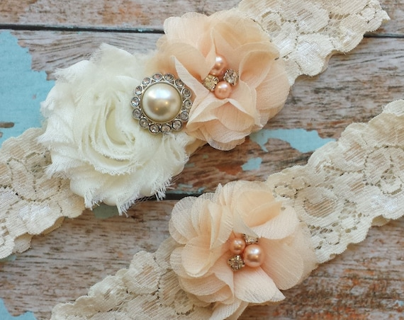 Peach Wedding Garter Set Bridal Garter Ivory Lace Garter Something Blue Rhinestone Garter Vintage Garter Belt Toss Garter Lace Garter