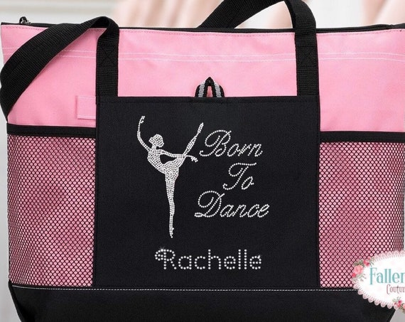 Dance Tote Bag , Personalized Dance Bag, Bling Dance Bag, Ballet Dance Bag ,  Gifts For Her, Dance Class Bag, Rhinestone Bling Born To Dance