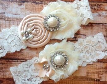 Blush Wedding Garter, Bridal Garter , Lace Garter , Wedding Garter Set, Something Blue, Vintage Garter, Rhinestone Garter , Toss Garter
