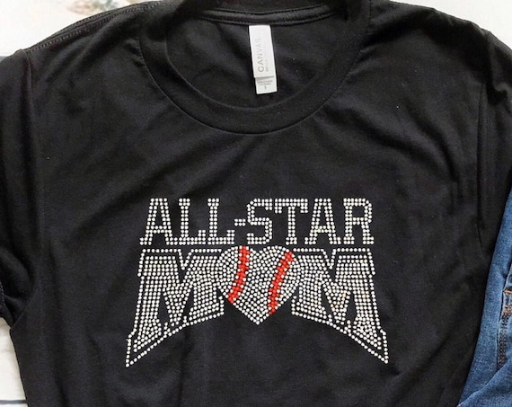 All Star Mom, Baseball mom shirt, baseball mom hoodie, baseball mom tank top, baseball mom lace up hoodie, baseball mom T-shirt, bling