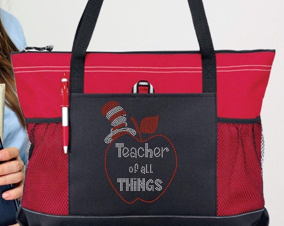 Teacher Gifts, End Of Year Gifts, Teacher Book Bag , Teacher Assistant Tote,  Bling Suess, Teacher Of All Things , Teacher Tote Bag