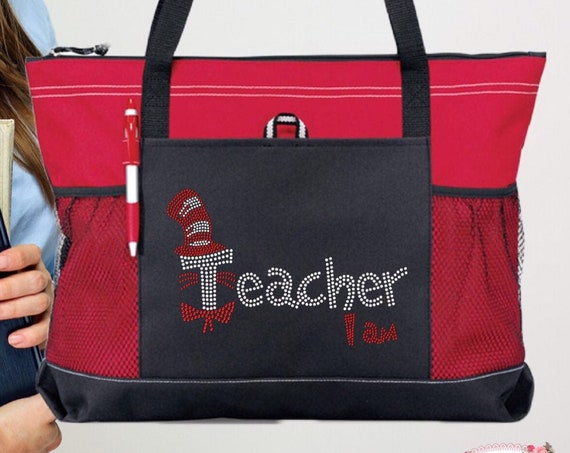 Teacher Gifts, End Of Year Gifts, Teacher Book Bag , Teacher Assistant Tote,  Bling suess ,Teacher I Am , Teacher Tote Bag,