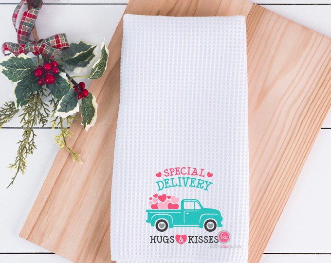 Valentine's Day Dish Towel,Kisses .25