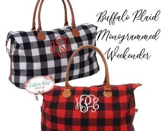 Monogrammed Buffalo Plaid Bag, Monogram Tote Bag ,Personalized Bag, Buffalo Check Overnight Travel Bag, Monogram Bags, Gifts for Her