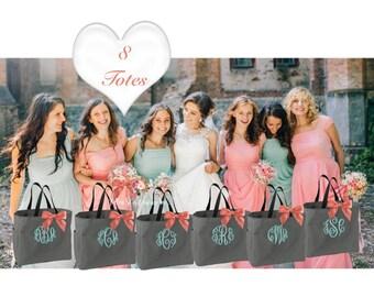8  bridesmaid tote bags , bridesmaid gifts , tote bag , beach bag , bachelorette party gift ,wedding bag , maid of honor