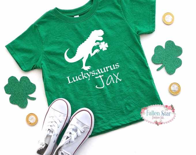 Boys St Patricks Day Shirt , Luckysaurus Kids St Pattys Day Tee , Kids St Patricks Day T Shirt , Dinosaur Shirt