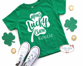 Kids St Patricks Day Shirt , Kids St Pattys Day Tee , Moms Lucky Charm , Girls St Patricks Day Shirt
