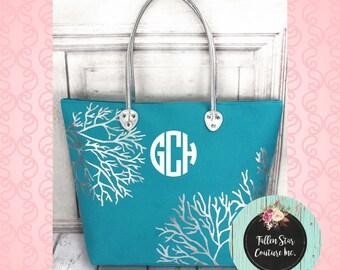 Turquoise metallic beach tote , shoulder tote , monogrmamed beach bag , personalized beach tote , metallic beach bag