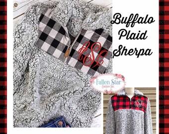 SHERPA Pullover , Buffalo Plaid Monogrammed Sherpa Pullover, Sherpa Quarter zip, Monogrammed Quarter Zip