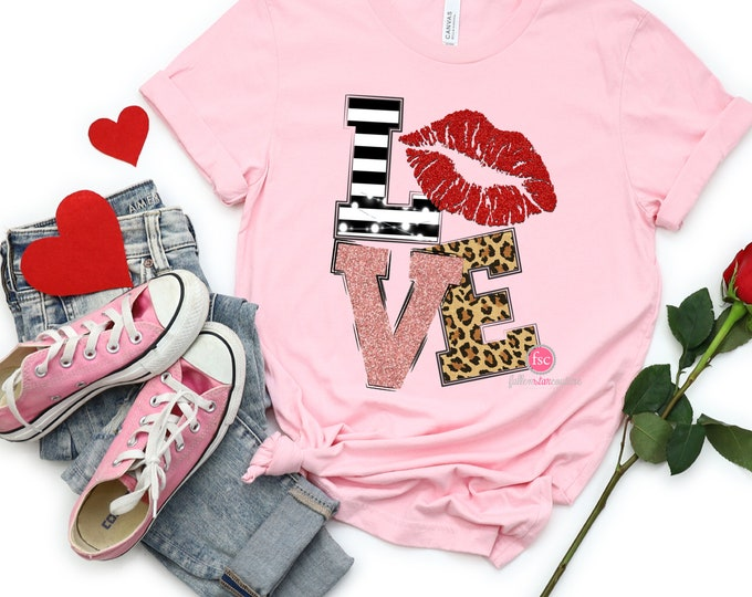 Valentine's Day Shirt , Ladies Valentine Tee Shirt , Girls Heart Shirt , Love Lips Tee , Valentine's Day Pink Shirt