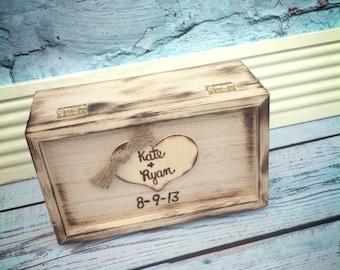 Rustic Wedding Ring Box Keepsake or Ring Bearer Box/ personalized / Ring Box / Barnyard Wedding / wood burned keepsake box