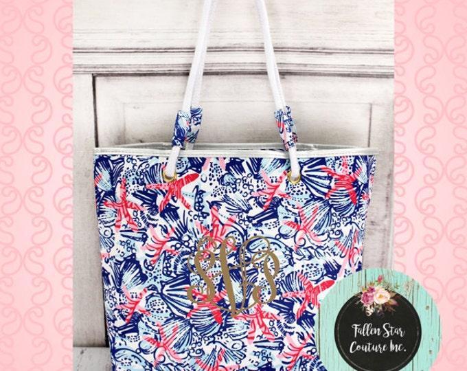 CLEARANCE star fish tote bag , beach bag , nautical beach bag , ladies beach bag , rope handle tote bag