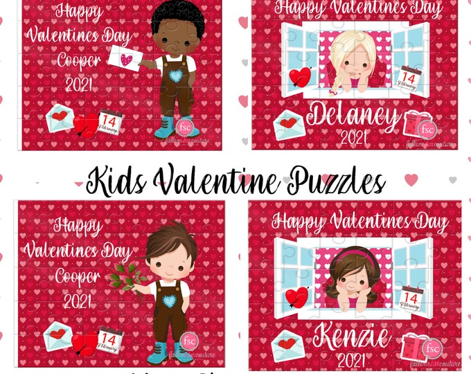 Valentines Day Puzzle, Kids Valentines Day Gift, Personalized Puzzle, girls valentines day gifts, boys Valentine's Day gift, jigsaw puzzle