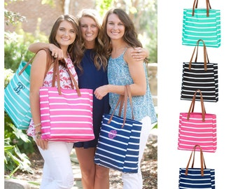 Personalized Tote Bag, Monogrammed Tote Bag, Nautical Tote Bag , Striped Tote Bag , Navy Tote Bag , Bridesmaid Tote Bag