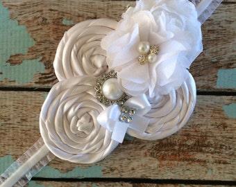 white FLOWER GIRL headband / infant toddler headband ,photo prop , baptism , christening , flower-girl,bride