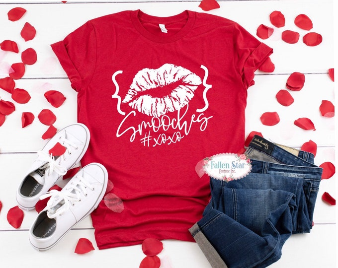 Valentine's Day Shirt, Valentine SMOOCHES Kiss Shirt Ladies Funny Valentine Shirt Love Shirt xoxo tee valentine shirt