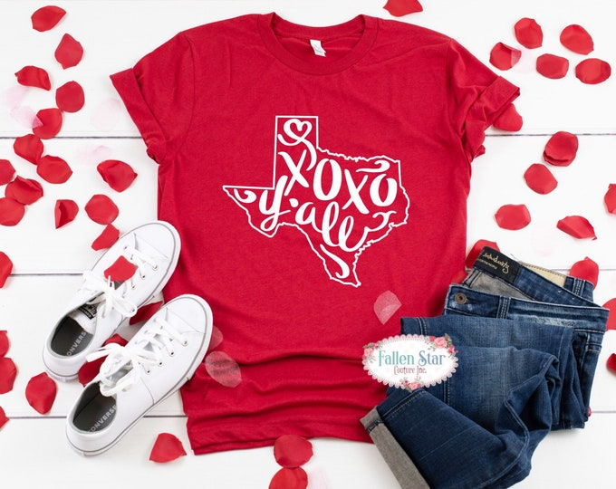 Texas Valentines Day Shirt , xoxo Y'all , Ladies Valentine Shirt,  Valentines Day Tee , Mom Valentine Shirt