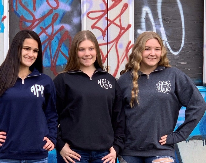 Monogrammed Sweatshirt, Monogram Quarter Zip Pullover, Gifts For Her, Christmas Gifts , Monogrammed College Classic Popover