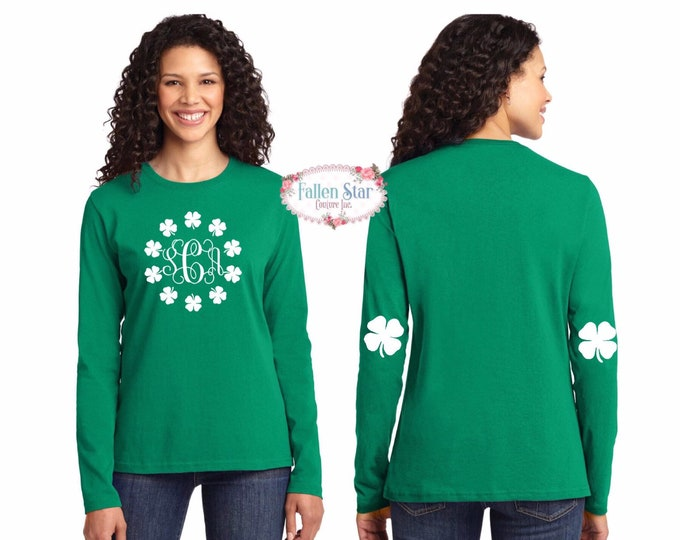 St Patricks Day Shirt , Elbow Patch Shirt ,Monogrammed St Paddys  Shirt, Kids St Patricks  Day Shirt , Girls Irish Shirt, Ladies Irish Shirt