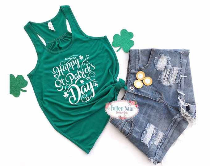 Ladies  St Patricks Day Tank , Irish Tee Shirt, Womans St Patricks Day Shirt, Shamrock Shirt, Happy St Patricks Day
