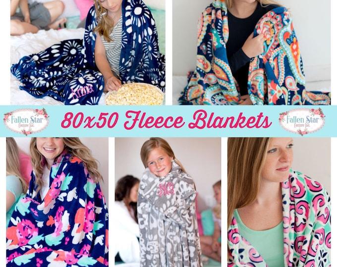 Monogrammed Fleece Blanket , Personalized Blanket , Teen Gift For Her , Christmas Gift For Her , Monogrammed Blanket , Collage Dorm Gift
