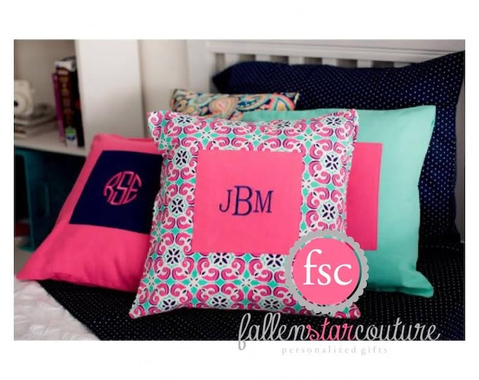Monogrammed Pillow Cover, College Dorm Gift, Gifts For Her, Teen Christmas Gift, Personalized Girls Pillow , Tween Pillow
