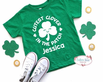 Girls St Patricks Day Shirt , Cutest Clover Kids St Pattys Day Tee , Kids St Patricks Day T Shirt