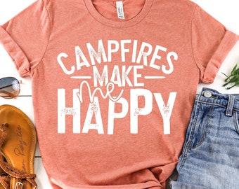 Campfires Make Me Happy, Lades Tee Shirt, Camping Shirt , Glamping, Camping Hoodie, Ladies camping Shirt SP