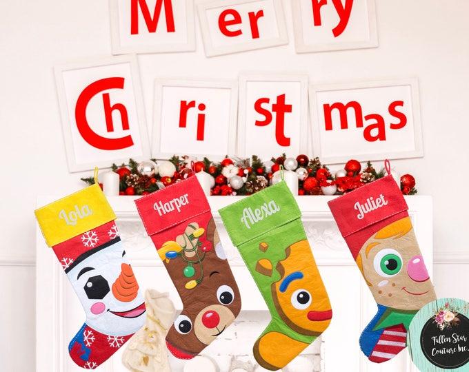 Clearance LARGE felt Personalized christmas stocking ,  christmas tree stocking , family christmas stockings , kids stocking
