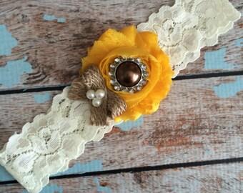 SUNFLOWER  inspired wedding garter / burlap toss garter  / wedding garter / bridal garter / toss garter / something blue