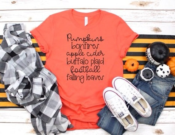 Ladies Fall Tee Shirt, Autumn Shirt, Pumpkins, Bonfires, Apple Cider, Fall ,Autumn