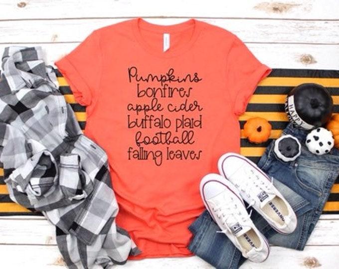 Ladies Fall Tee Shirt, Autumn Shirt, Pumpkins, Bonfires, Apple Cider, Fall ,Autumn