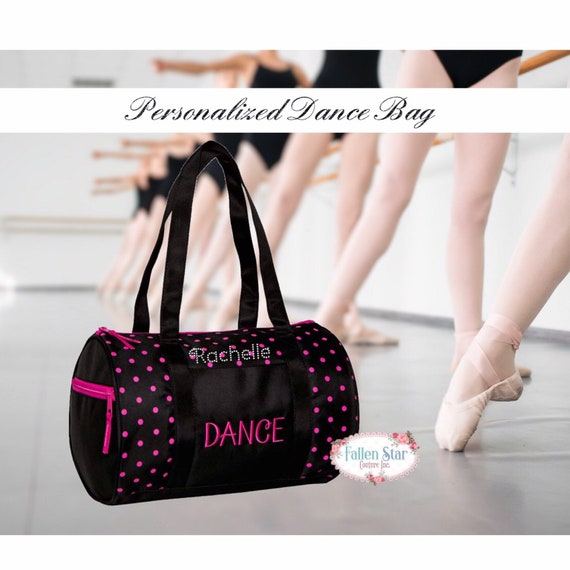 Small Girls Polka Dot Dance Bag, dance class bag, ballet slipper duffel bag, duffel bag for girls dance, personalized dance class bag