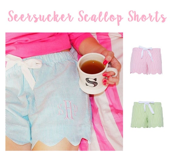Monogrammed Seersucker getting ready shorts , personalized bridesmaid shorts,  ladies seersucker shorts , bridal party gifts SCALLOPED
