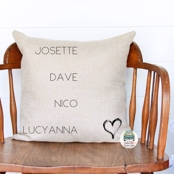 Family pillow, family names pillow, personalized pillow, gifts for mom, gifts for grandma, grandkids names on pillow, kids names on pillow