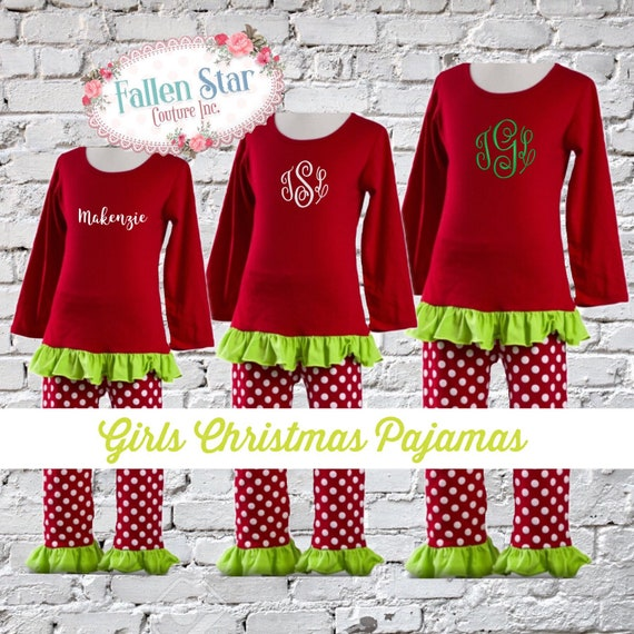 Girls Personalized christmas pajamas , kids christmas pajamas , toddler christmas pajamas , holiday christmas pajamas girls 2-6