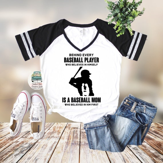 Baseball Mom Shirts, Baseball Tee, Mom Shirt, Baseball Mom V Neck, Cooperstown, Little League , Travel Baseball , Behind Every Baseball