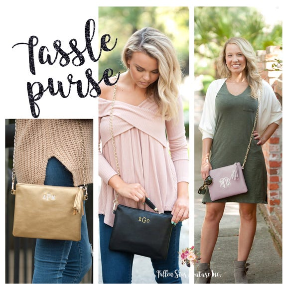 Monogrammed TASSEL  purse , personalized purse , sorority purse , BLACK crossbody bag , BLUSH pocketbook , crossbody