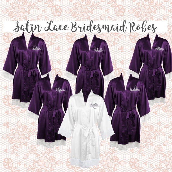 Bridesmaid Satin Robes with Lace Cuff, Bridal Party Satin Robes, Bridesmaid Monogrammed Robes, Trending Bridal Party Gifts