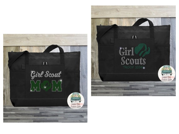 BLING Girl Scout Tote Bag, Girl Scout Mom Tote Bag, Troop Leader Gift , Troop Leader Tote Bag