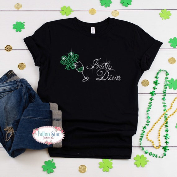 St. Patrick's Day Shirt , Irish Diva , Womans  St. Patrick's Day Shirt , Rhinestone Bling St. Patrick's Day Shirt