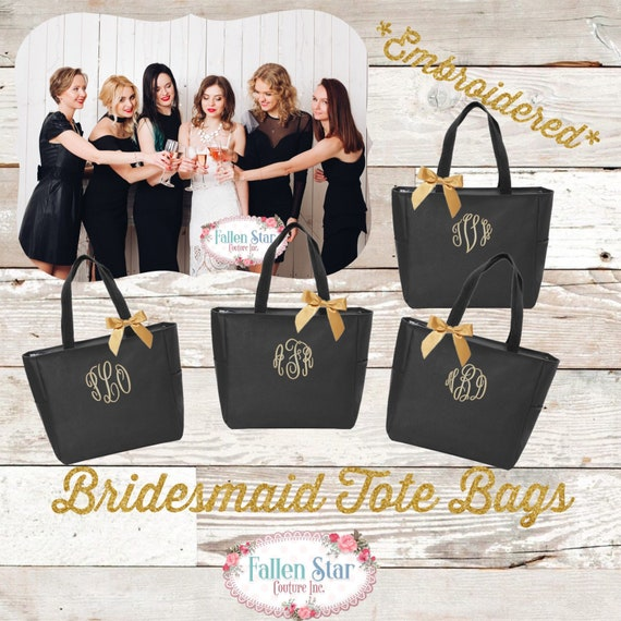 Bridesmaid ZIPPER Tote Bags, Personalized Bridesmaid Bags, Bridal Party Gifts , Monogrammed Tote , 9.00 Tote Bag , Embroidered Tote Bag