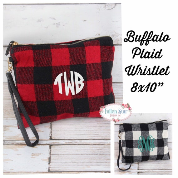 Buffalo plaid wristlet, buffalo plaid clutch, buffalo plaid purse, gifts for her, gift under 20, ladies Christmas gifts